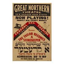Yiddish Theatre Tailor 1938 WPA Vintage Poster