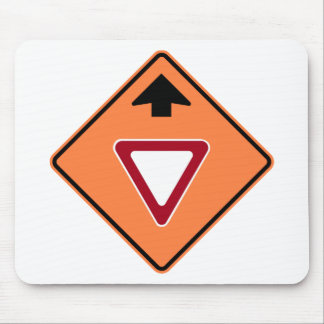 Yield Ahead Construction Zone Highway Sign Mouse Mat