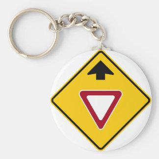 Yield Ahead Highway Sign Keychain