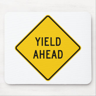 Yield Ahead Highway Sign Mouse Pads