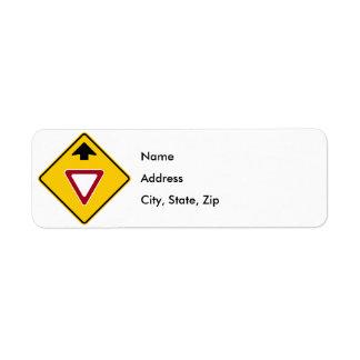 Yield Ahead Highway Sign Return Address Label