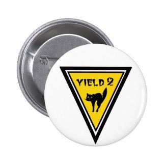 Yield Black Cat Pinback Button