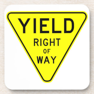 yield right of way beverage coaster