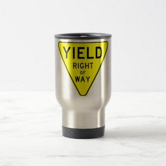yield right of way travel mug