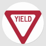 Yield Sign Classic Round Sticker