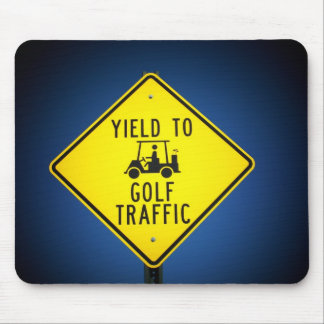 Yield to Golf Traffic Mouse Pad