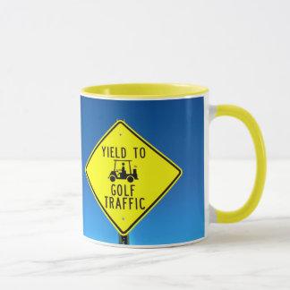 Yield to Golf Traffic Sign Mug