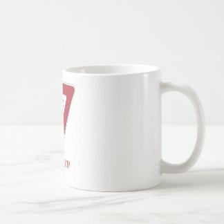 Yield To Gravity (Traffic Sign Physics Humor) Coffee Mug