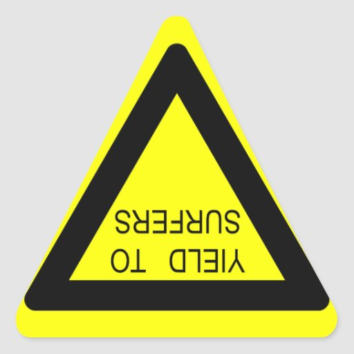 YIELD TO SURFERS SIGN TRIANGLE STICKER