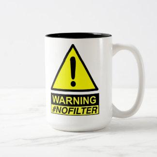 Yield Warning No Filter Speaker Two-Tone Coffee Mug
