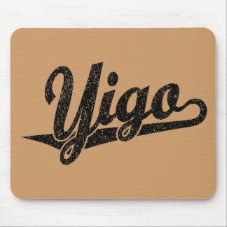 Yigo script logo in black distressed mouse pad