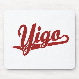 Yigo script logo in red mouse pad
