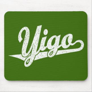 Yigo script logo in white distressed mouse pad