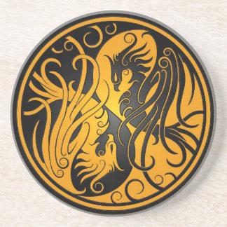 Yin amarillo y negro Yang Phoenix Posavasos Diseño