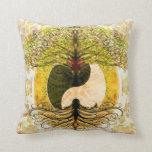 Yin amarillo Yang con el árbol de la vida Cojín