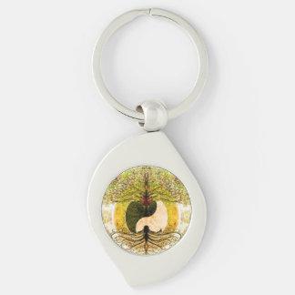 Yin amarillo Yang con el árbol de la vida Llavero Plateado En Forma De Espiral