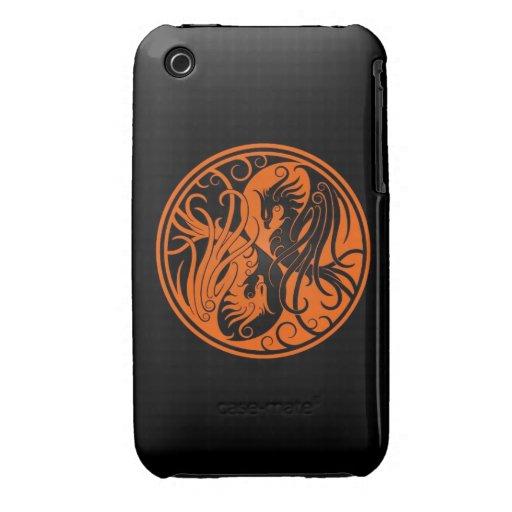 Yin anaranjado y negro Yang Phoenix iPhone 3 Carcasas