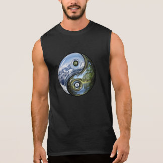 Yin And Yang As Planet Earth With Your Monogram Sleeveless Shirt