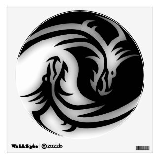 Yin and Yang Asian Dragons Wall Sticker
