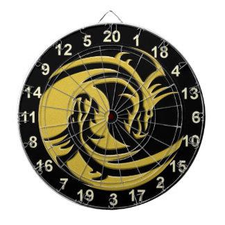 Yin and Yang black and gold dragon dart board