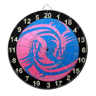 Yin and Yang blue and pink dragon dart board