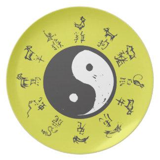 Yin and Yang Chinese zodiac Dinner Plate