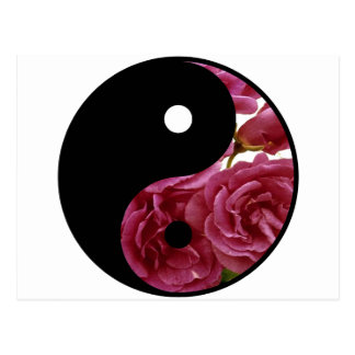 Yin And Yang Floral Postcard