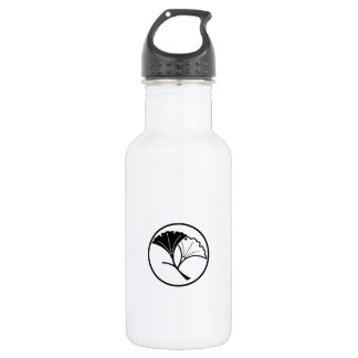 Yin and yang ginkgo leaves in threadlike ring stainless steel water bottle