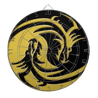 Yin and Yang gold and black dragon Dartboard With Darts