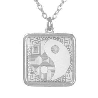 Yin and Yang I Square Pendant Necklace