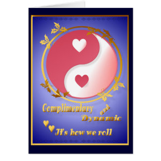 Yin and Yang in Valentine Hot Pink-Card Greeting Card