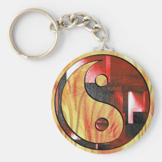 Yin and Yang key supporter Basic Round Button Keychain