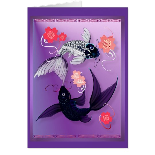 Yin and Yang Koi and Cherry Blossoms Cards