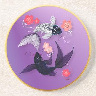 Yin and Yang Koi and Cherry Blossoms Coasters