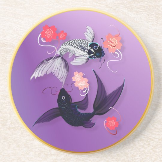 Yin and Yang Koi and Cherry Blossoms Coasters