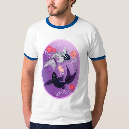 Yin and Yang Koi and Cherry Blossoms Oval T-Shirts