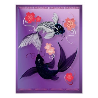 Yin and Yang Koi and Cherry Blossoms Poster