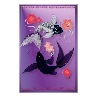 Yin and Yang Koi and Cherry Blossoms Posters