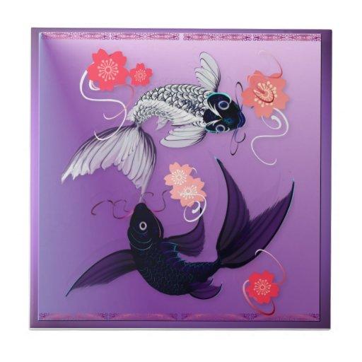 Yin and Yang Koi and Cherry Blossoms Tiles