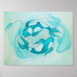 Yin and Yang Koi Carp Aqua Blue Art Print