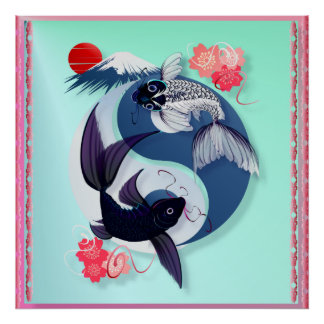 Yin and Yang Koi Poster