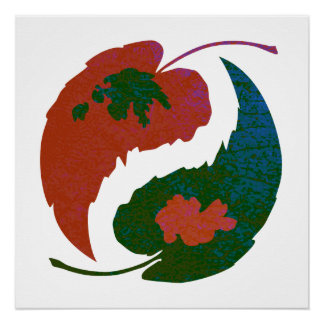 Yin and Yang Leaves Poster