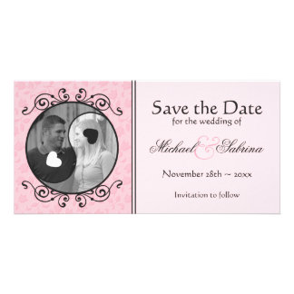 Yin and Yang Pink Floral Save the Date Photo Card