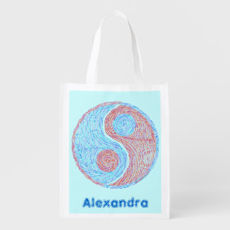 Yin And Yang Red And Blue Personalized Reusable Reusable Grocery Bags