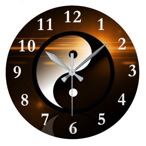 Yin and Yang Round Wall Clock