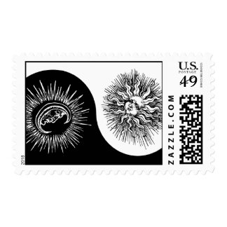Yin and yang sign - Sun vs Moon Postage