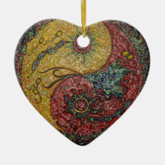 Yin and Yang supporter: Heart Ceramic Ornament