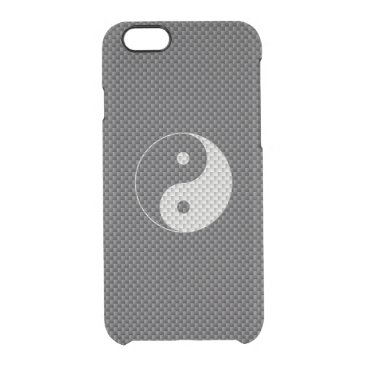 Beach Themed Yin and Yang Symbol in Black & White Carbon Fiber Clear iPhone 6/6S Case