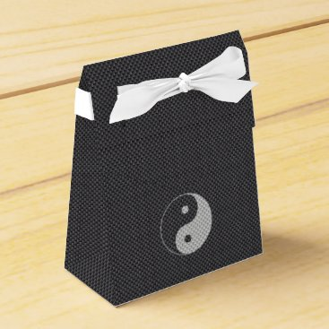 Beach Themed Yin and Yang Symbol in Black & White Carbon Fiber Favor Box