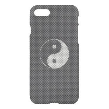 Beach Themed Yin and Yang Symbol in Black & White Carbon Fiber iPhone 7 Case